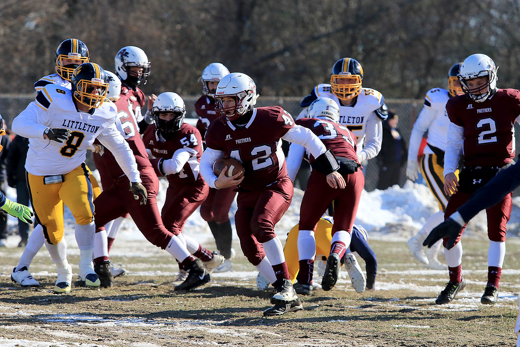 . Littleton High School visited Ayer Shirley Regional High School on Thanksgiving Day for there annual turkey day game. ASRHS\'s Mick Mitrano finds some running room during action in the game. SENTINEL & ENTERPRISE/JOHN LOVE