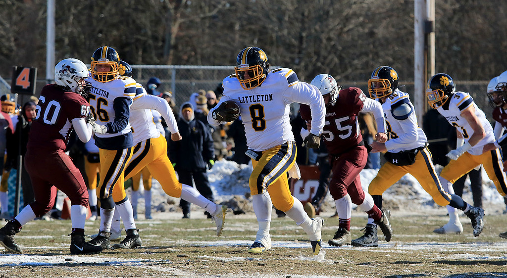 . Littleton High School visited Ayer Shirley Regional High School on Thanksgiving Day for there annual turkey day game. LHS\'s Mitch Beaudoin finds some running room during action in the game. SENTINEL & ENTERPRISE/JOHN LOVE