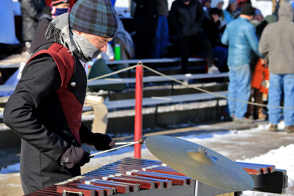 . Littleton High School visited Ayer Shirley Regional High School on Thanksgiving Day for there annual turkey day game. ASRHS\'s band member sophomore Owen MacDonald playes the xylophone with the band during the half time show. SENTINEL & ENTERPRISE/JOHN LOVE