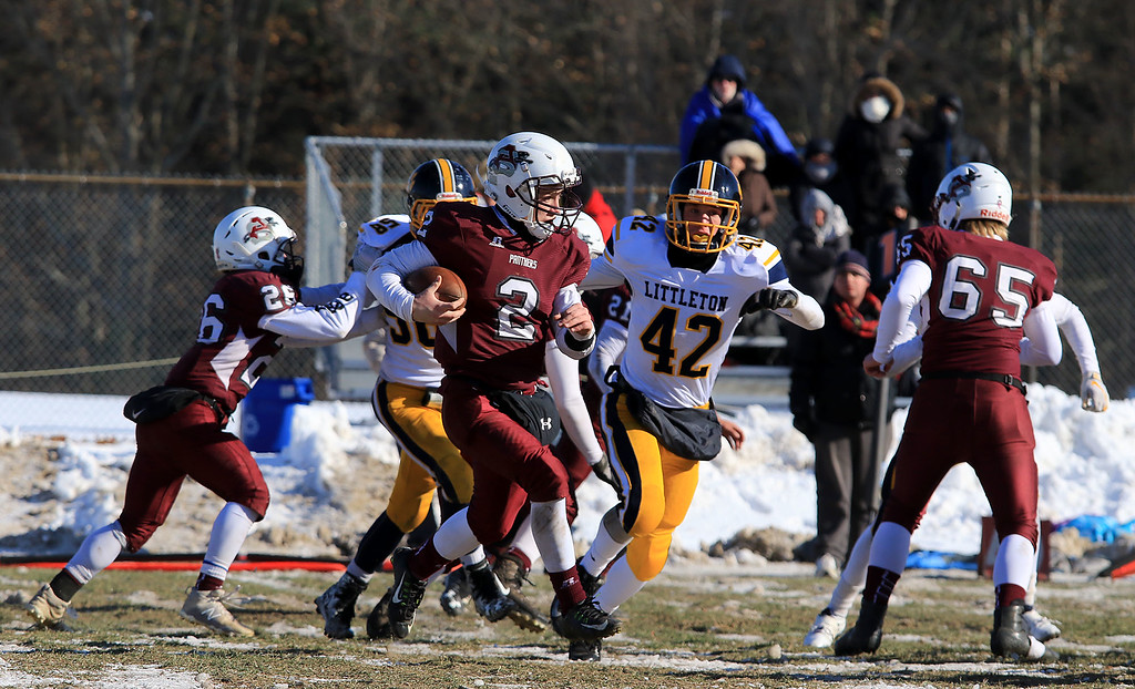 . Littleton High School visited Ayer Shirley Regional High School on Thanksgiving Day for there annual turkey day game. ASRHS\'s Lucas Sargent tries to find some running room during a kickoff during action in the second half of the game. SENTINEL & ENTERPRISE/JOHN LOVE