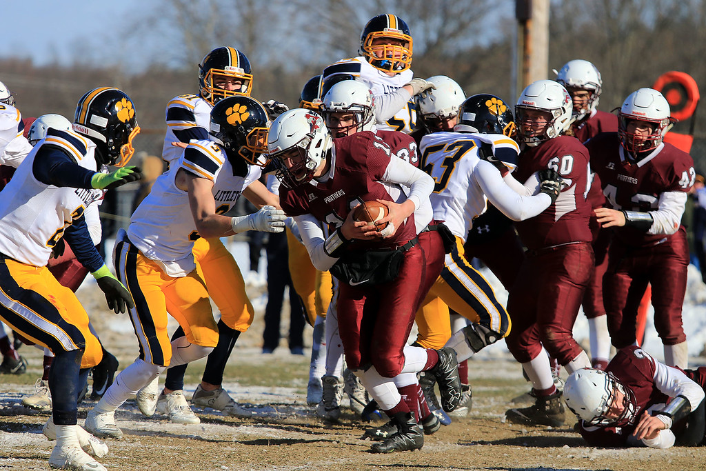 . Littleton High School visited Ayer Shirley Regional High School on Thanksgiving Day for there annual turkey day game. ASRHS\'s Wilkey Halston treis to find some running room. SENTINEL & ENTERPRISE/JOHN LOVE