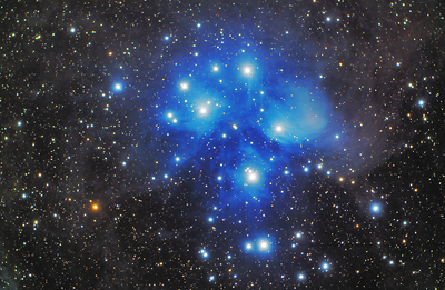 The Pleiades or Seven Sisters M45  Coonabarabran, NSW, Australia November, 2012  William Optics M110, 110mm F5.95 Refractor QHY8L OSC   CCD Camera Skywatcher HEQ5Pro  Mount  Exposure