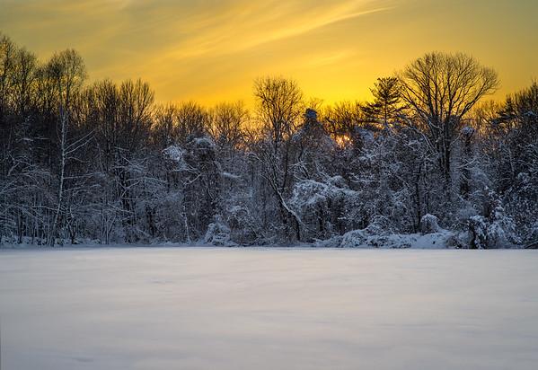 Winter Golden Sunset - Hopkinton - Tom Sloan