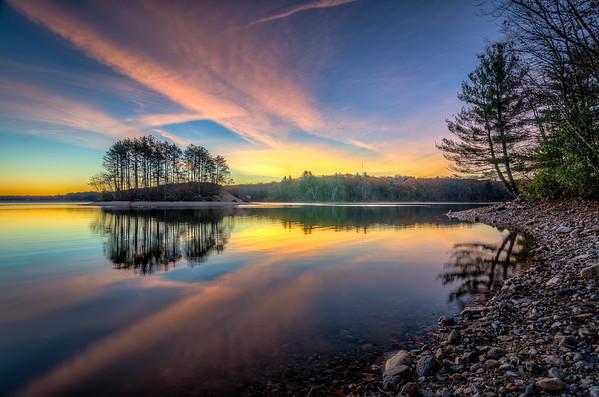 Pink Clouds and Golden Horizon at Dawn