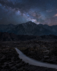 Starts over Lone Pine Peak, Alabama Hills, CA
