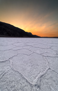 Natural heart formation in salt flats at Badwater Basin, Death Valley National Park