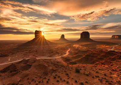 First Light in Monument Valley