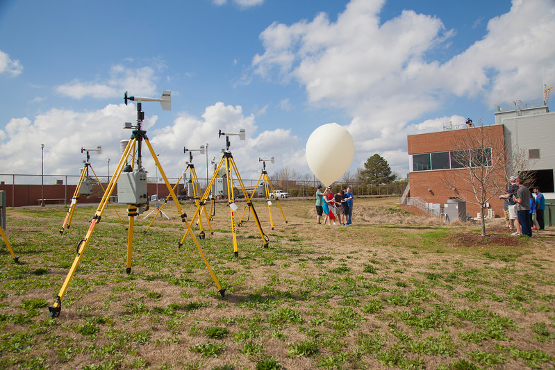 The Texas Tech University STESONET (a.k.a. StickNet) instruments in the foreground with the radiosonde comparison balloon ready for launch in the background.