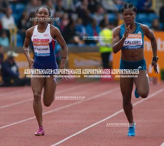 IAAF DIAMOND LEAGUE-Birmingham Women  100m Heat 2 Bianca  Williams (GB) and Schillonie Calvert (Jam)