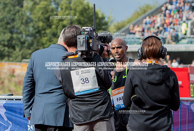 IAAF DIAMOND LEAGUE-Birmingham Men-Two Miles Mo Farah crosses the line in a new world record time of 8:07:85. Press interview