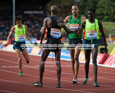IAAF DIAMOND LEAGUE-Birmingham Men-Two Miles Mo Farah crosses the line in a new world record time of 8:07:85 with Kipkemei Emmanuel Bett (Ken) 3rd and Jordon Mcnamara (USA) 4th