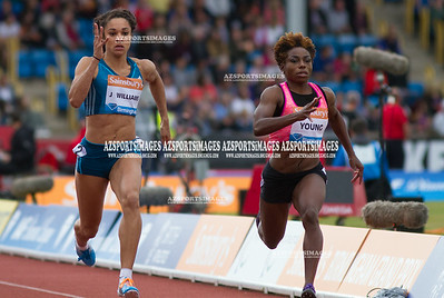IAAF DIAMOND LEAGUE-Birmingham Women  100m Heat 1 Jodie Williams (GB), and Jessica Young (USA)