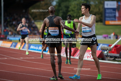 IAAF DIAMOND LEAGUE-Birmingham Men-Two Miles Mo Farah crosses the line in a new world record time of 8:07:85 with Zane Robertson (NZL) who came second