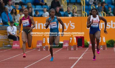 IAAF DIAMOND LEAGUE-Birmingham Women  100m Heat 1  Ash Phillip (GB), Carnelita Jeter (USA), Shalonda Solomon (USA)