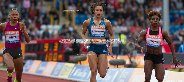 IAAF DIAMOND LEAGUE-Birmingham Women  100m Heat 1 Jodie Williams (GB), Allyson Felix (USA), and Jessica Young (USA)