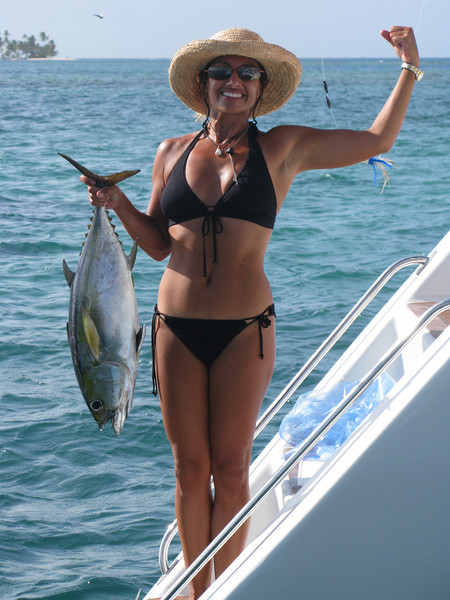 Monique with her catch of yellow fin tuna.
