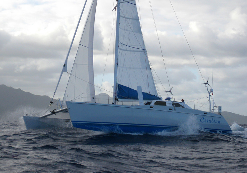 Sailing down the windward side of Dominica. Wind 25 to 30 kts. Seas 8' to 12'.