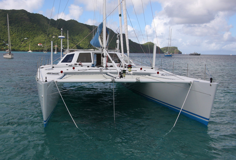 Slender hulls and generous bridge deck clearance make for fast, comfortable passages.