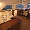 Pilothouse, portside. Nav table forward.