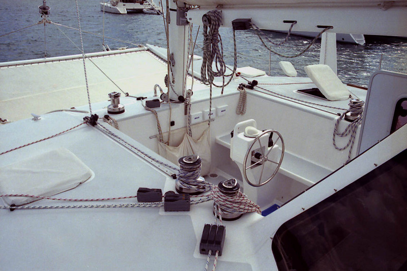 Sailing cockpit with all controls lead within easy reach.