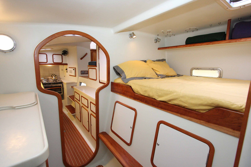 Starboard double cabin, looking aft into galley.