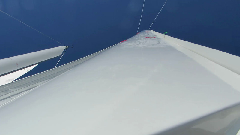 Video Segment<br /> <br /> Looking up mizzen mast during a tack. V-flap is reset.