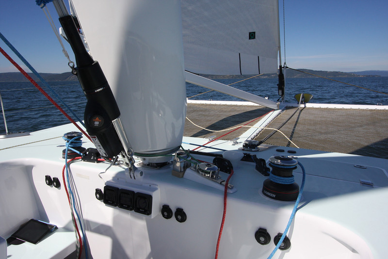 Mastfoil rotation control. In and out buttons for Harken jib furlers and sheet/outhaul winches.