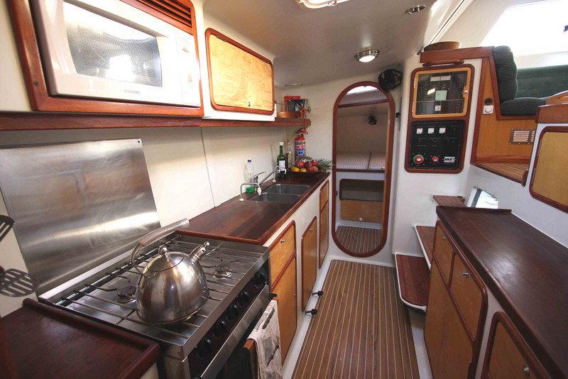 "Galley looking aft; A55 ""SEGUE"""