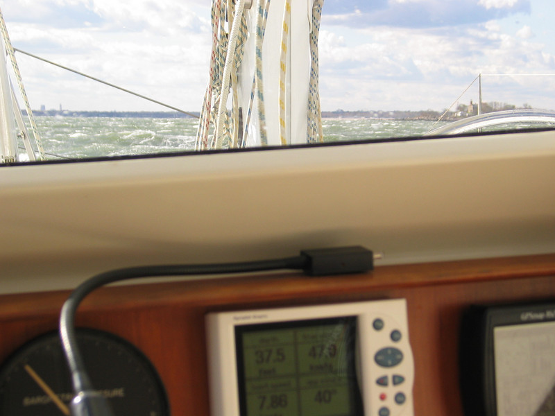 Going to windward in 47 kts wind. I love my pilothouse.