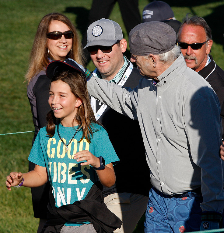 . Bill Murray with fans at Monterey Peninsula Country Club Shore Course during the second round of the AT&T Pebble Beach Pro-Am on Friday, Feb. 9, 2018.  (Vern Fisher - Monterey Herald)
