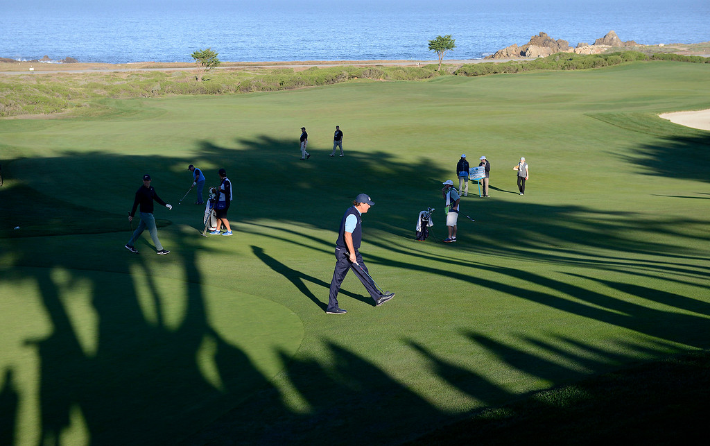 . Phil Mickelson on the 10th hole at Monterey Peninsula Country Club Shore Course during the second round of the AT&T Pebble Beach Pro-Am on Friday, Feb. 9, 2018.  (Vern Fisher - Monterey Herald)