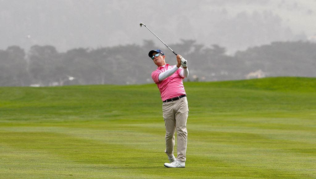 . Kevin Streelman watches his approach on the 14th hole at the Pebble Beach Golf Links during the final round of the AT&T Pebble Beach Pro-Am on Sunday, Feb. 11, 2018.  (Vern Fisher - Monterey Herald)