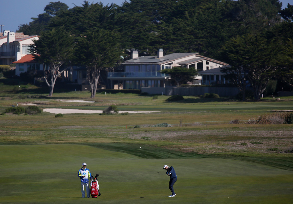 . Troy Merritt drives on the 12th fairway at Monterey Peninsula Country Club during the third round of the AT&T Pebble Beach Pro-Am in Pebble Beach, Calif. on Saturday February 10, 2018. Merritt birdied the hole. (David Royal/Herald Correspondent)