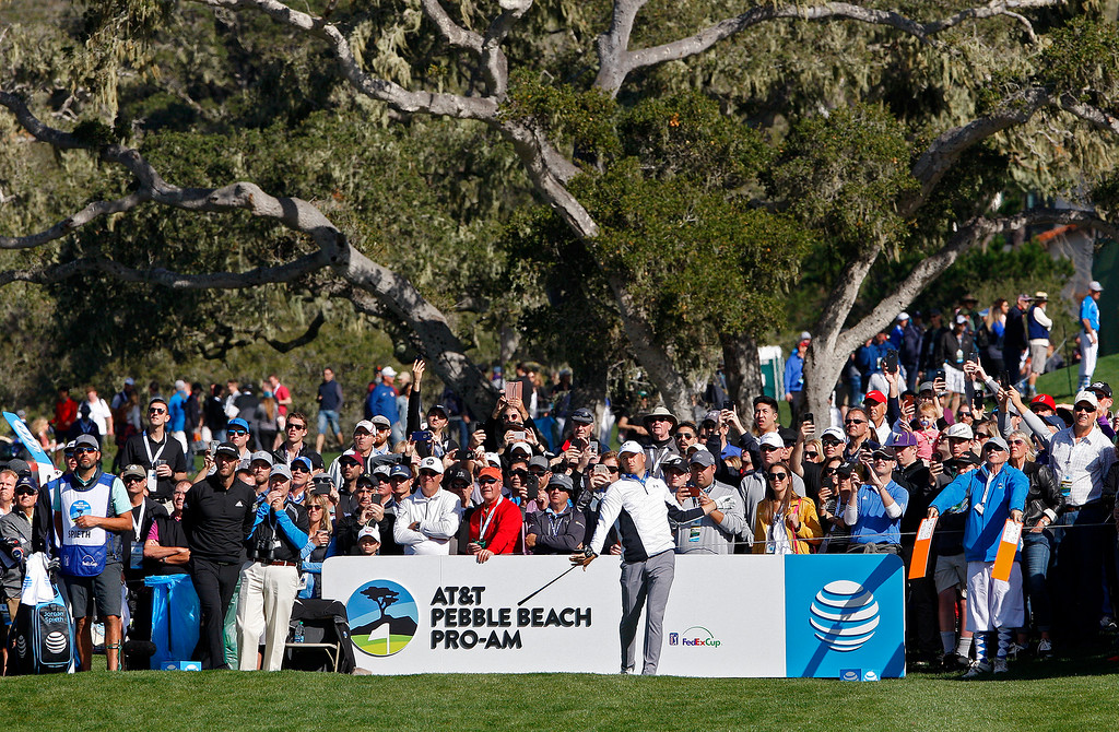 . Jordan Spieth tees off on the sixth hole at the Pebble Beach Golf Links during the third round of the AT&T Pebble Beach Pro-Am on Saturday, Feb. 10, 2018.  (Vern Fisher - Monterey Herald)