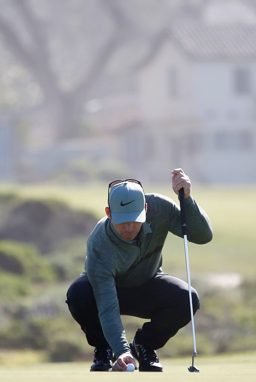 . Paul Casey lines up his putt on the 15th green at Monterey Peninsula Country Club during the third round of the AT&T Pebble Beach Pro-Am in Pebble Beach, Calif. on Saturday February 10, 2018. (David Royal/Herald Correspondent)