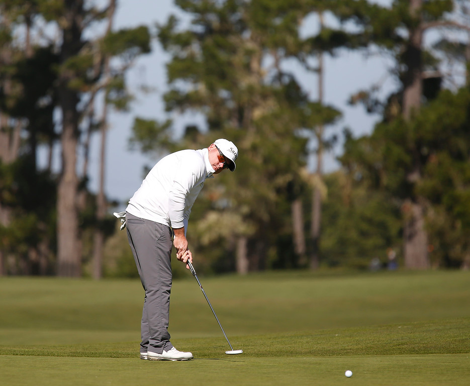 . Ted Potter Jr. tracks his putt for birdy the third hole at Monterey Peninsula Country Club during the third round of the AT&T Pebble Beach Pro-Am in Pebble Beach, Calif. on Saturday February 10, 2018. (David Royal/Herald Correspondent)