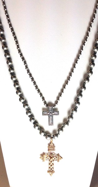 """TOP:  7305-GK4  STERLING CROSS ON KNOTTED SILVER BEADS  BOTTOM?  7-RM269-GK8  GOTHIC CROSS ON KNOTTED 8MM SILVER BEADS   BOTH 36"""""""