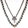 TOP:  7305-GK4  STERLING CROSS ON KNOTTED SILVER BEADS  BOTTOM?  7-RM269-GK8  GOTHIC CROSS ON KNOTTED 8MM SILVER BEADS   BOTH 36""