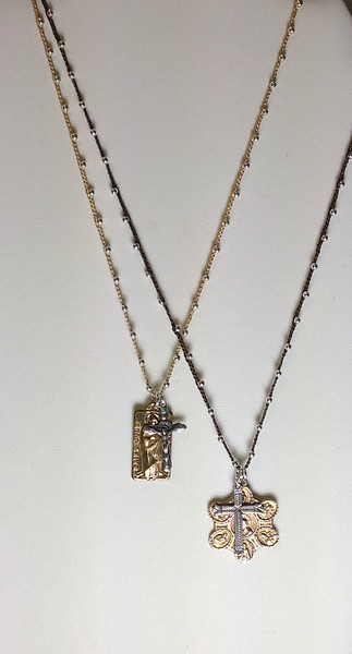"""LEFT:  7-RM68/8YC-CO42 ST JUDE WITH CROSS ON YELLOW SILK CORD, 7-RM137/79B-CO42 7 WAY MEDAL WITH STERLING CROSS BOTH 34"""""""