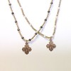 """LEFT:  7-RM83-HPY CO49  RIGHT:  7-RM83-HWT CO49 SMALL BRONZE 4 WAY CROSSES ON GOLD HEISHI WITH PYRITE AND WHITE PEARLS  16"""" + 2.5"""" EXT"""