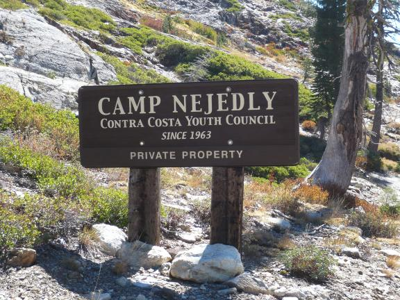 Camp Nejedly sign at Hawley Lake. All of Hawley Lake is part of this camp (private property) but they allow the trails to pass through.