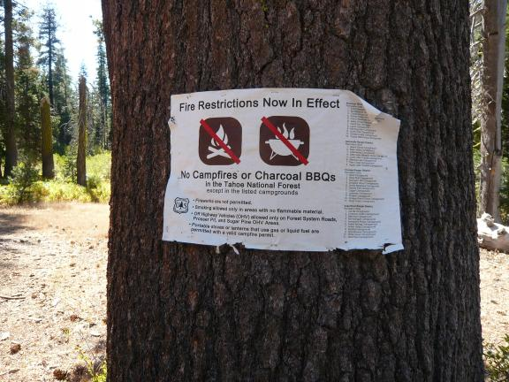 The fire restriction sign at my camp (restrictions actually ended the night before).
