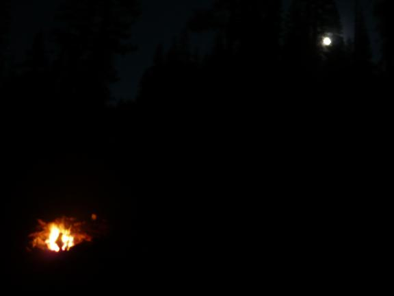 My campfire with the moon rising to the east.