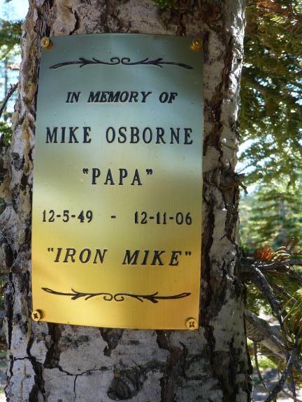 In Memory of Iron Mike: this is at Big Boulder mine, where the Boulder Creek trail becomes single track and continues south. This is a fantastic view point.