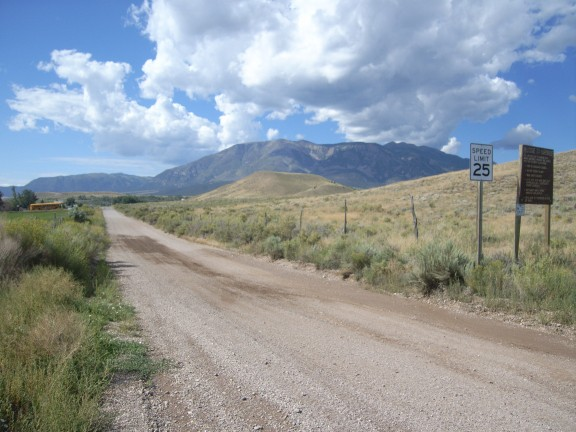 On Day 1, we left Marysvale on Paiute 02 headed West. This is looking back toward town on the way out. The brown sign explains rules for ATVs when riding in town (not many rules, mainly wear a helmet and stay within speed limit).