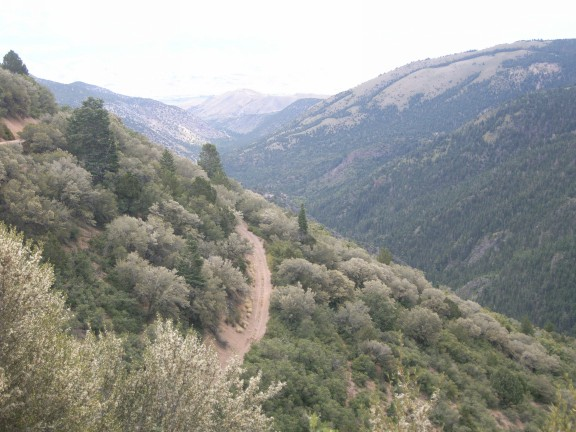 Looking East down the Beaver Creek canyon from the upper part of Paiute 02 West. Marysvale would be along the left edge of the picture in the distance, if X-Ray vision could see through the terrain.