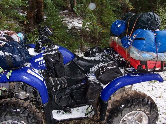 Blue Grizzly after the hail storm up on Boulder Mountain. Hey, at least it cleaned off all of the dust and mud!