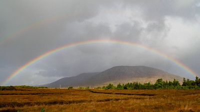 Rainbow over the Twelve Bens, near Maum Cross