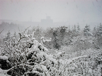 The Rye Water Aqueduct in falling snow, with the Intel plant in the background