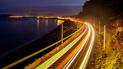 DART light trails between Dalkey and Killiney